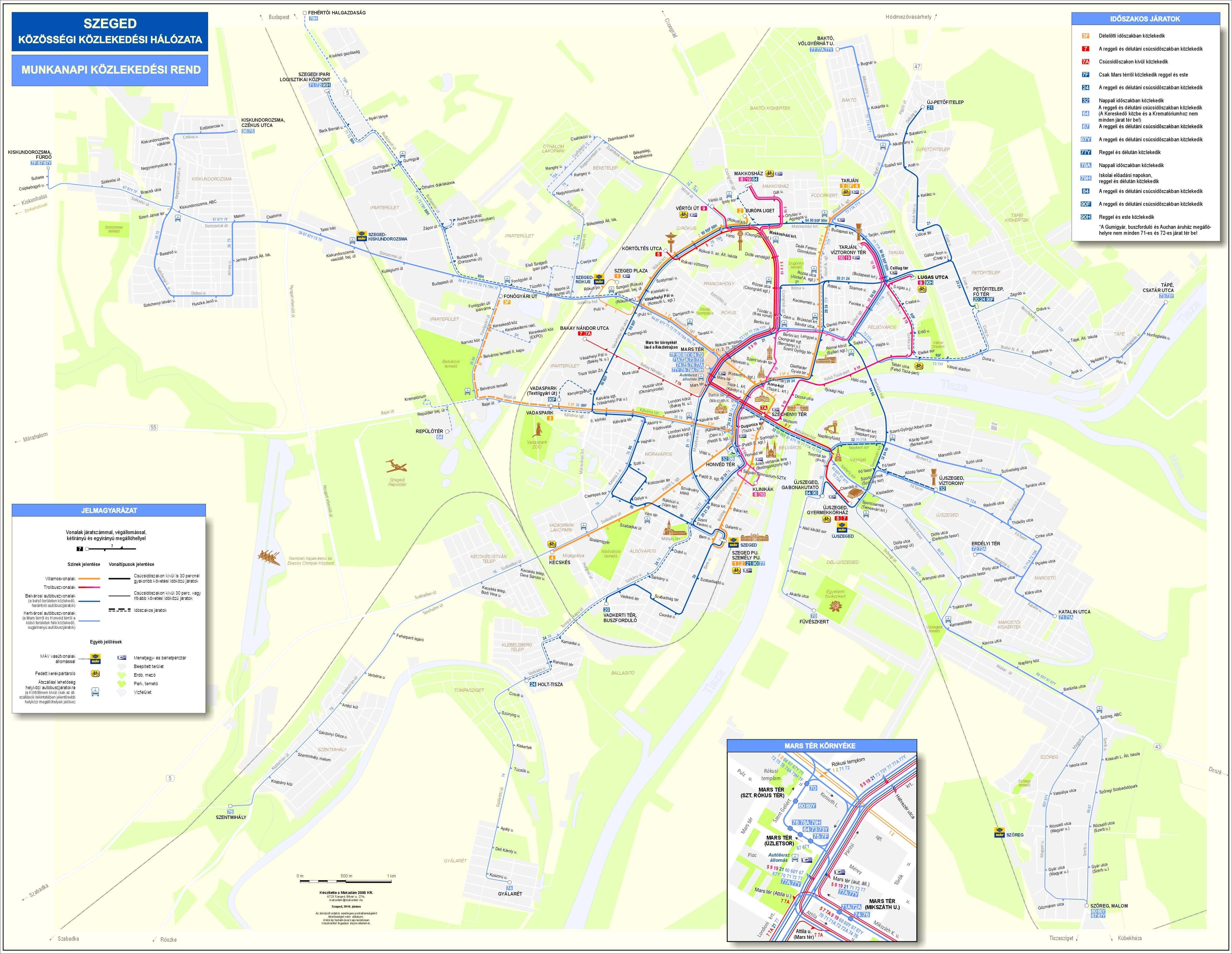 Map Of Network Szegedi Kozlekedesi Tarsasag